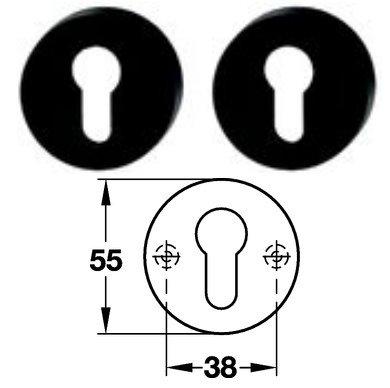 Hewi 306.23 Paar PZ Schlüsselrosette 90 tiefschwarz