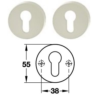 Hewi 306.23 Paar PZ Schlüsselrosette 97 lichtgrau