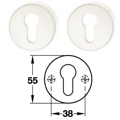 Hewi 306.23 Paar PZ Schlüsselrosette 98 signalweiß