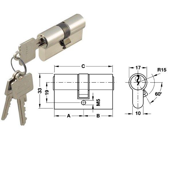 StarTec Profil Doppelzylinder mit Gefahrenfunktion verschiedenschließend 35/45