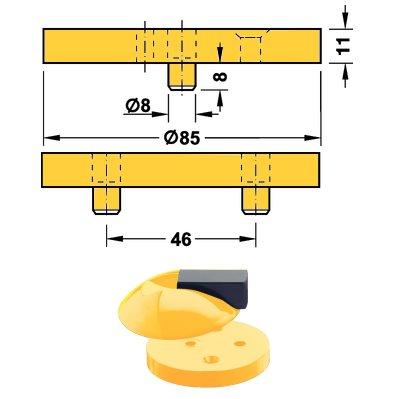 <b>Fußplatte</b> HEWI 625.1 für Boden Türpuffer Hewi <b>625 13 rapsgelb</b>
