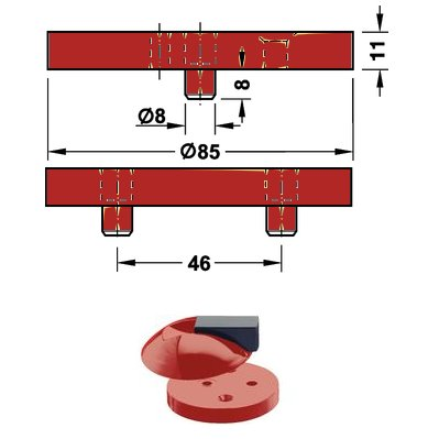 <b>Fußplatte</b> HEWI 625.1 für Boden Türpuffer Hewi <b>625 33 rubinrot</b>