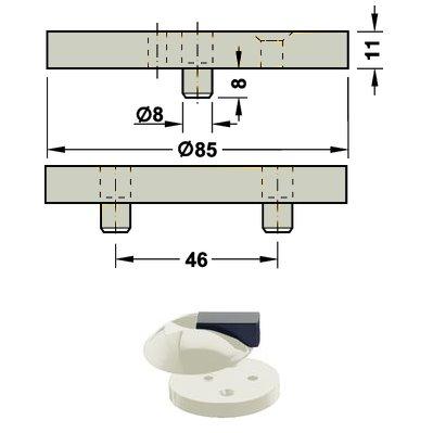 <b>Fußplatte</b> HEWI 625.1 für Boden Türpuffer Hewi <b>625 97 lichtgrau</b>
