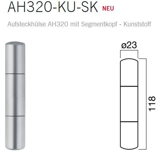 Anuba Zierhülsen AH320 KU NK Kunststoff für Türbänder Ø 20 mm, edelstahlfarben