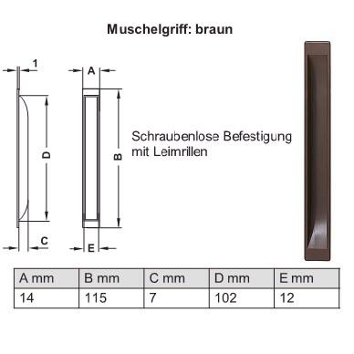 Möbel Muschelgriff zum Einlassen in Kunststoff braun Schraubenlose Befestigung