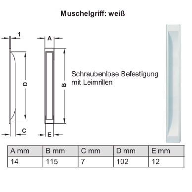 Möbel Muschelgriff zum Einlassen in Kunststoff weiss Schraubenlose Befestigung