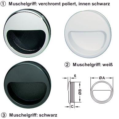 runder Muschelgriff zum Einlassen in Kunststoff schwarz