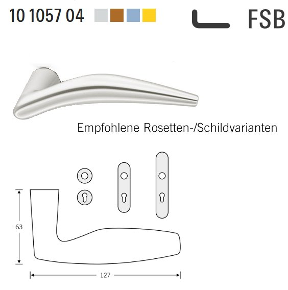 FSB 10 1057 00000 Aluminium Türdrückerpaar 8 mm