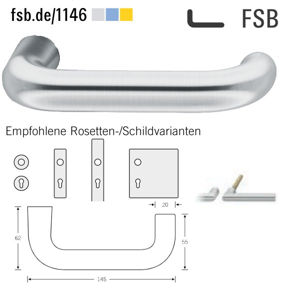 FSB 10 1146 00000 6204 Türdrückerpaar 8 mm Edelstahl matt