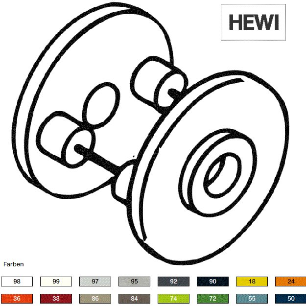 HEWI 305.122.23.24 Spezialdrueckerrosette orange Paar