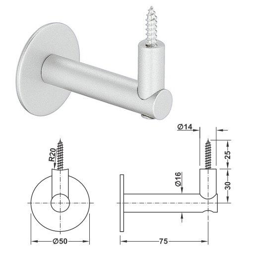 KWS 4547 Handlaufstuetze Stahl ohne Auflage
