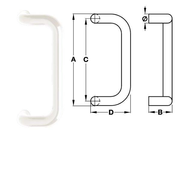 Hewi 550GK Türgriff Ø30 mm 210/120 mm 99 reinweiß