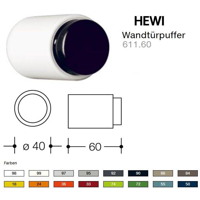 HEWI 611.60 Wandtuerpuffer 50 stahlblau